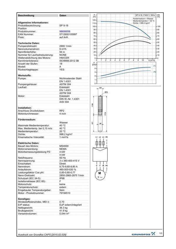 Grundfos SP 9 A18  (400V)