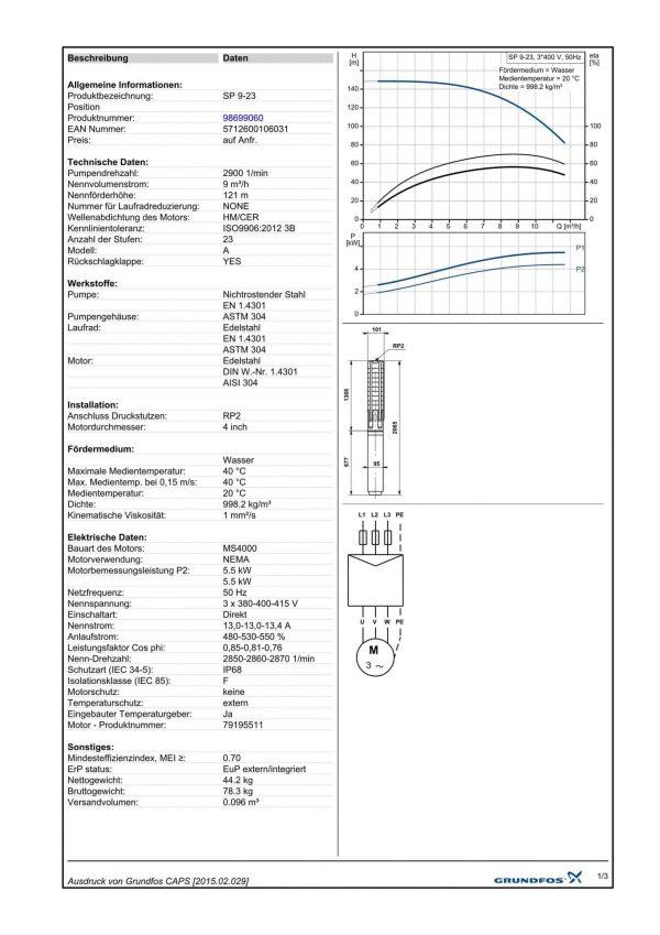 Grundfos SP 9 A23  (400V)