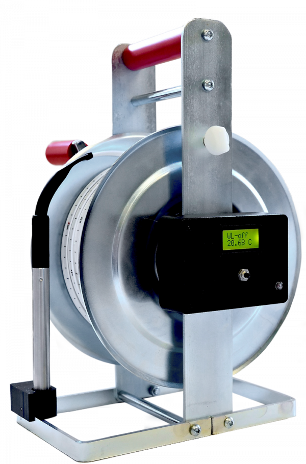 Kabellichtlot mit Temperaturmessung auf Standrahmen